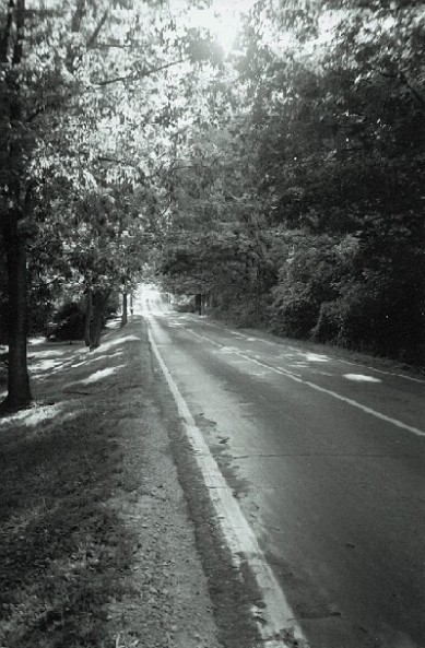 black & white open highway